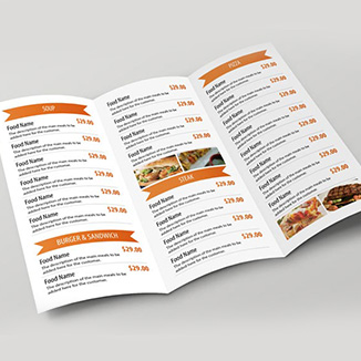best prices for 6pp Folded Menu - Economy Silk